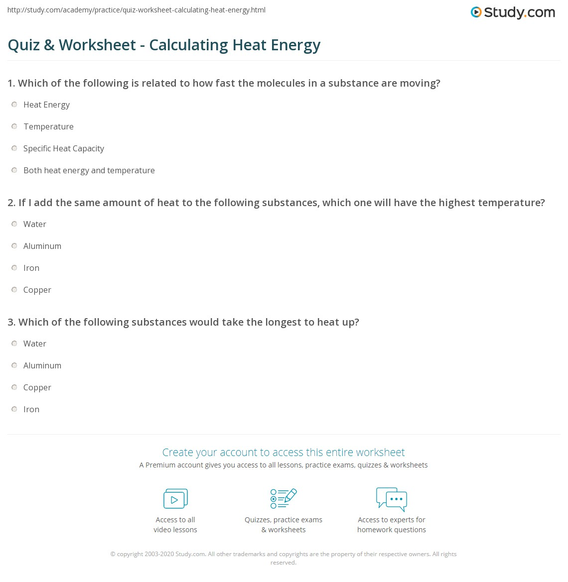 Heat Energy Worksheet 1 Calculations Involving Specific