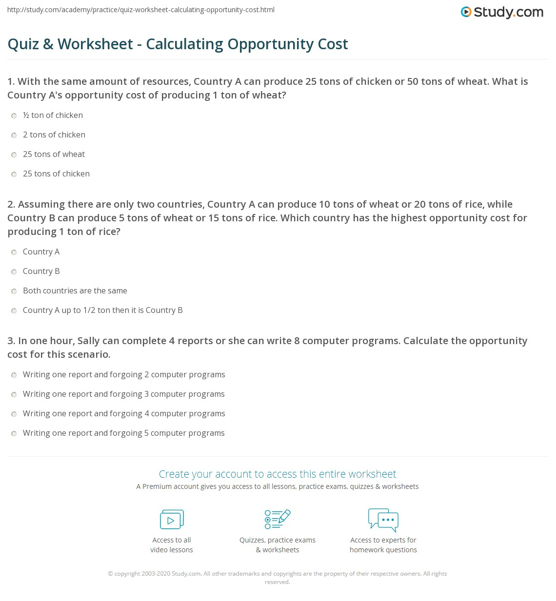 Section 2 Opportunity Cost Worksheet Answers