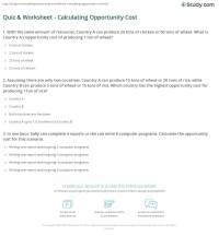 Section 2 Opportunity Cost Worksheet Answers ...