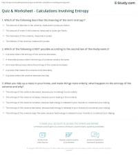 Quiz & Worksheet - Calculations Involving Entropy | Study.com