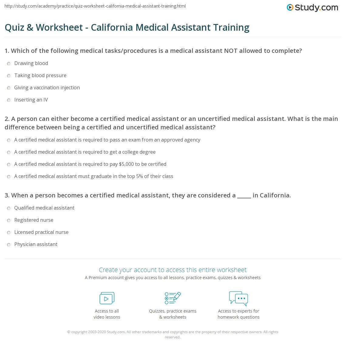 Medical Assistant Study Worksheet