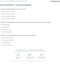 Quiz \u0026 Worksheet - Canada's Geography   Study.com [ 1169 x 1140 Pixel ]