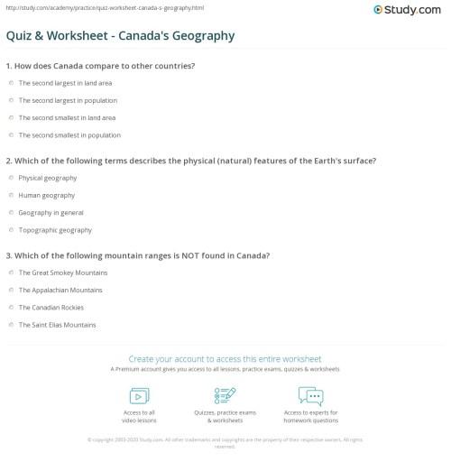 small resolution of Quiz \u0026 Worksheet - Canada's Geography   Study.com