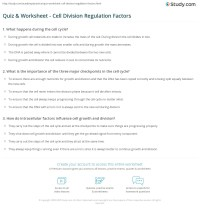 Quiz & Worksheet - Cell Division Regulation Factors ...