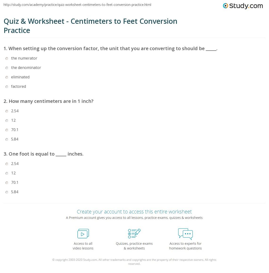 quiz worksheet centimeters to