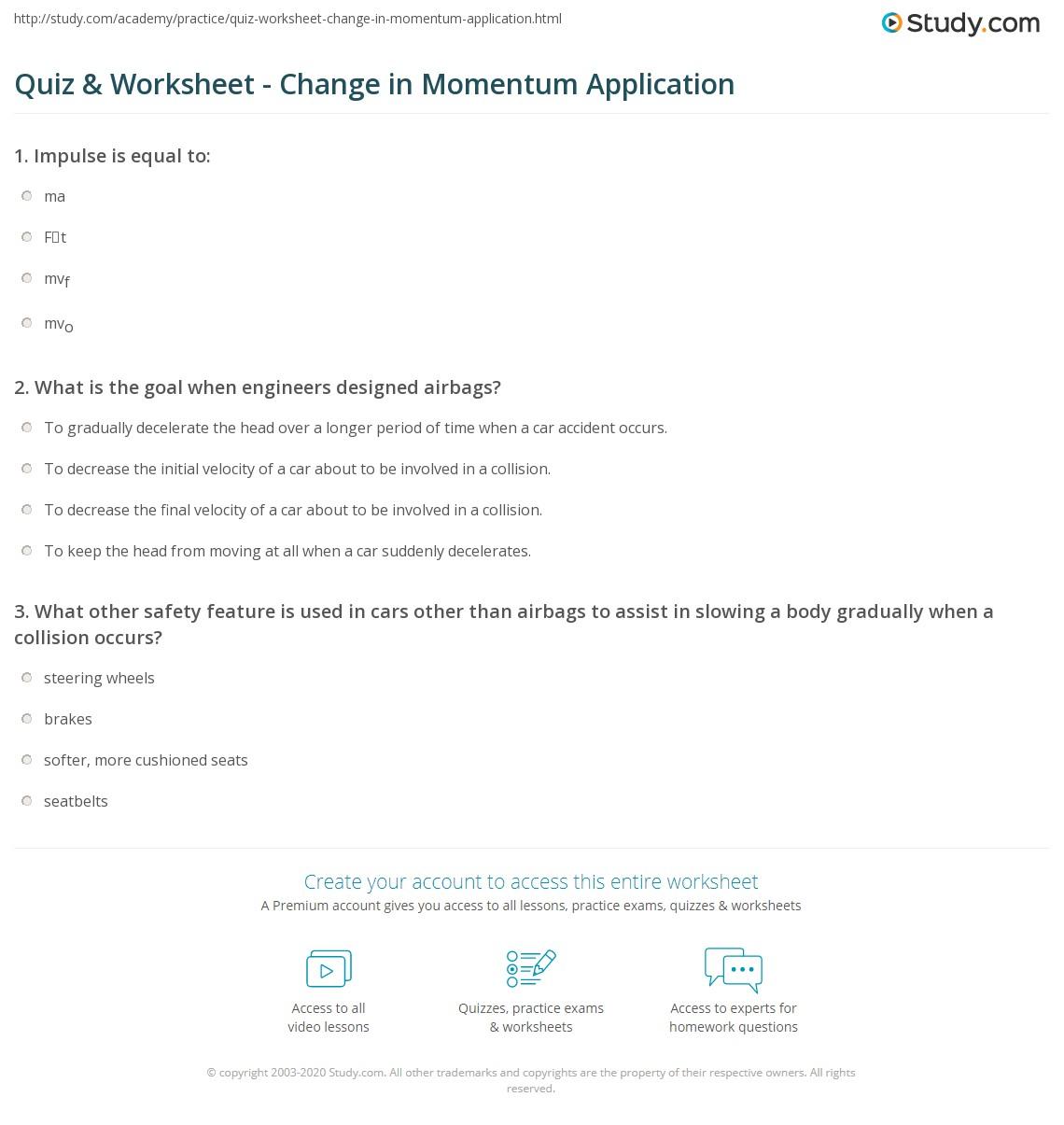 Conservation Of Momentum Gcse Worksheet