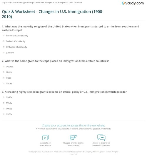 small resolution of Immigration Reading Worksheet   Printable Worksheets and Activities for  Teachers