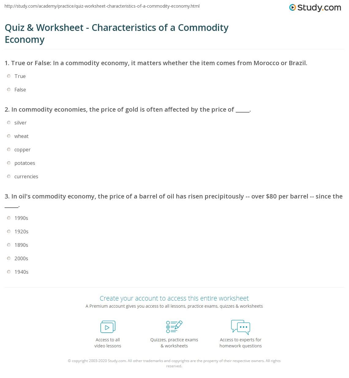 Commodity Economics Definition