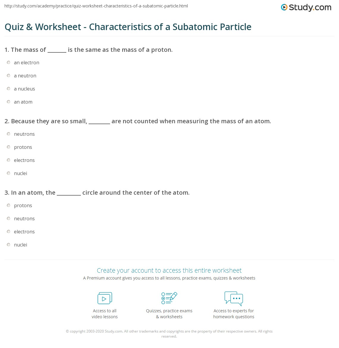 Printables Of Worksheet On Subatomic Particles