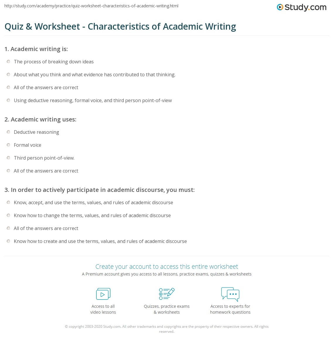 Example Academic Writing
