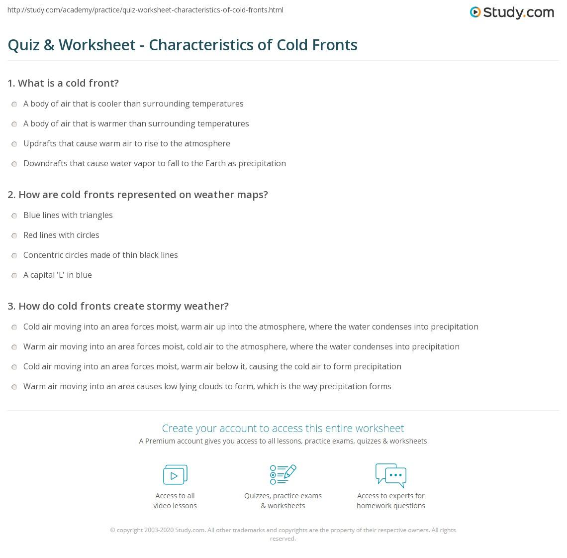 Worksheet Weather Fronts Worksheet Grass Fedjp Worksheet