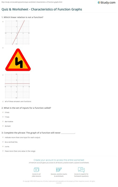 small resolution of Characteristics Of Functions Worksheet - Promotiontablecovers