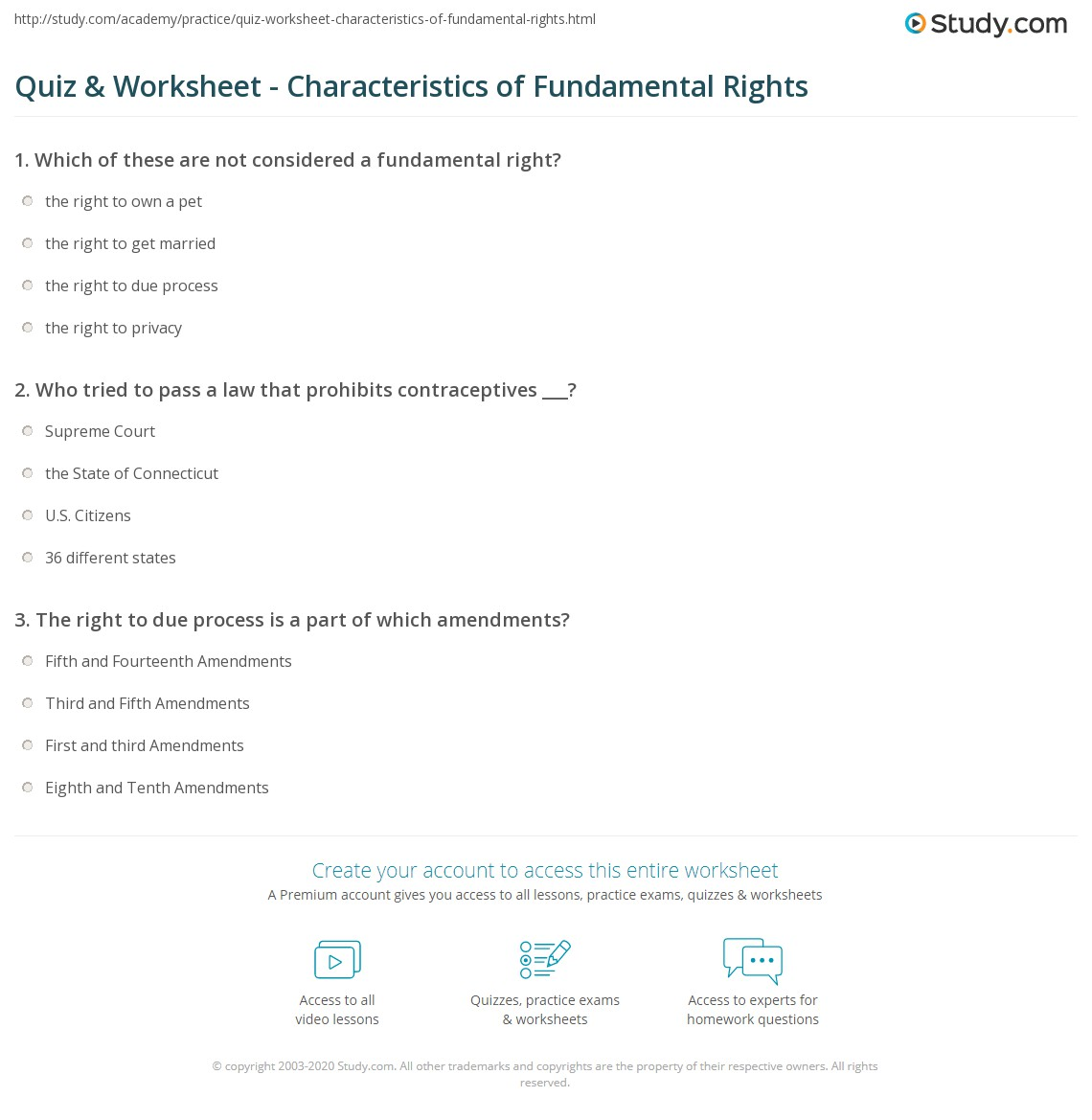 hight resolution of Quiz \u0026 Worksheet - Characteristics of Fundamental Rights   Study.com