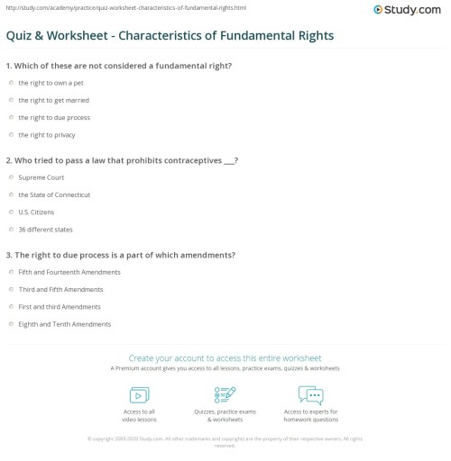 small resolution of Quiz \u0026 Worksheet - Characteristics of Fundamental Rights   Study.com