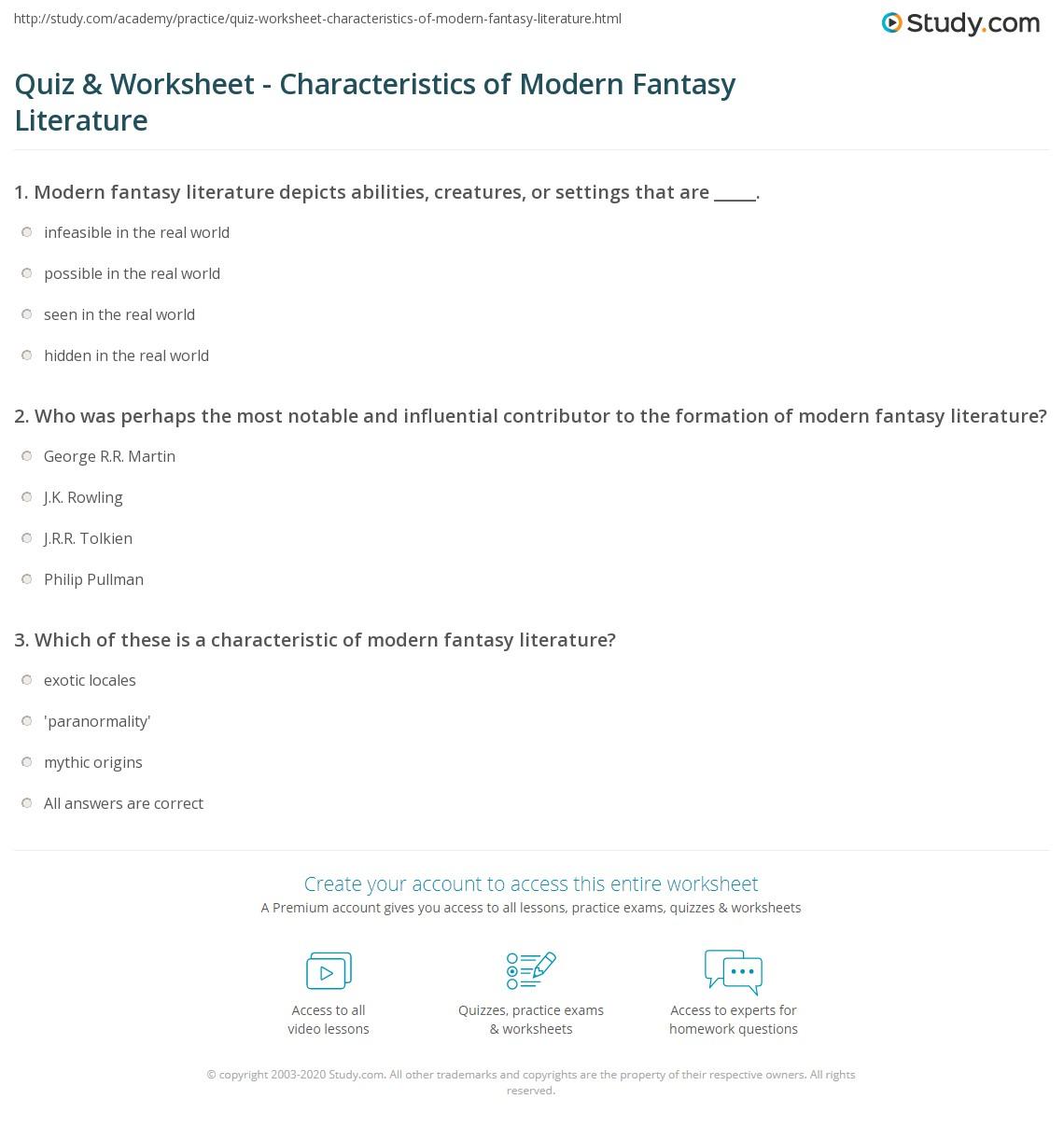 hight resolution of Quiz \u0026 Worksheet - Characteristics of Modern Fantasy Literature   Study.com