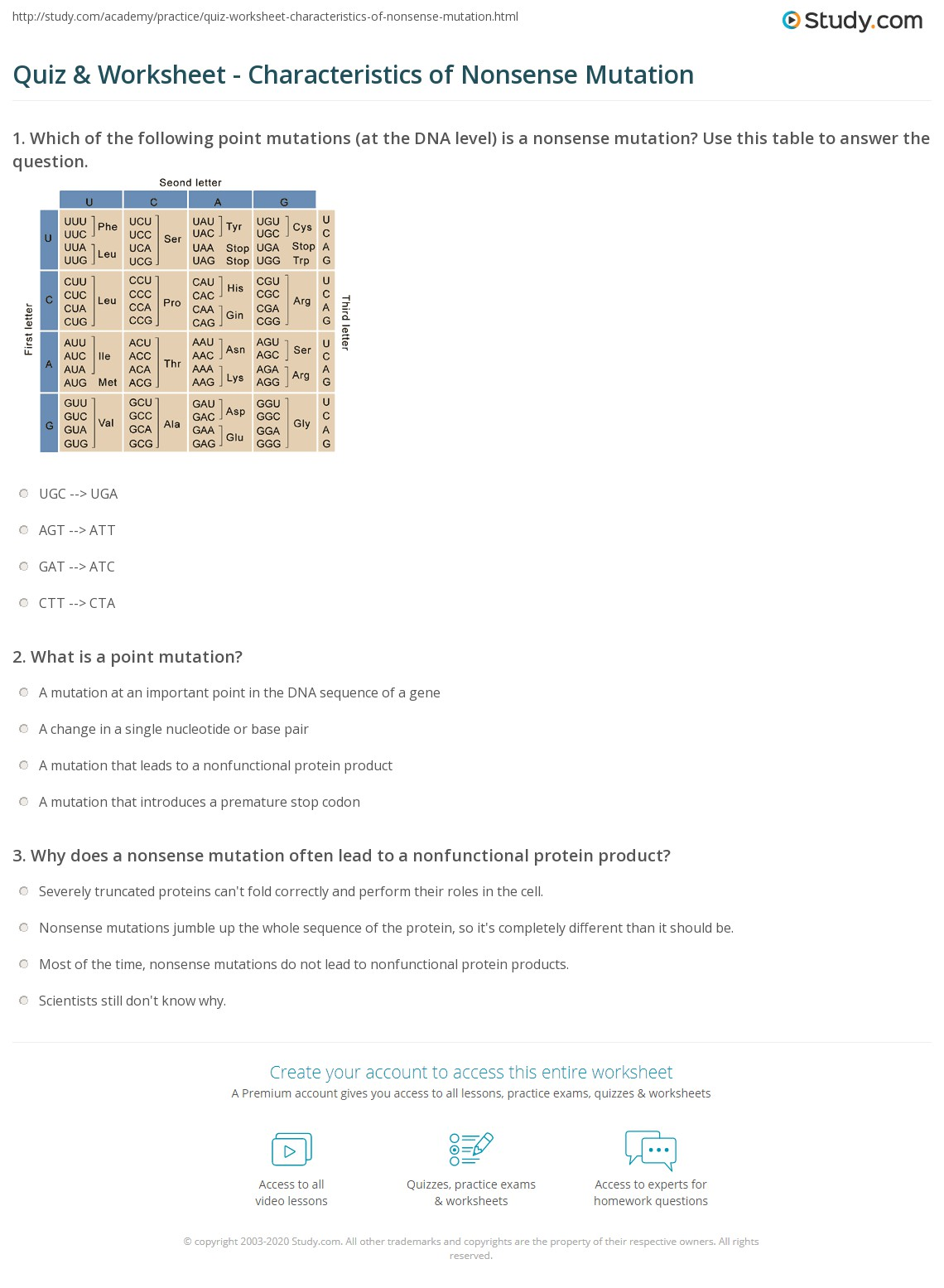 Codons Worksheet Answers
