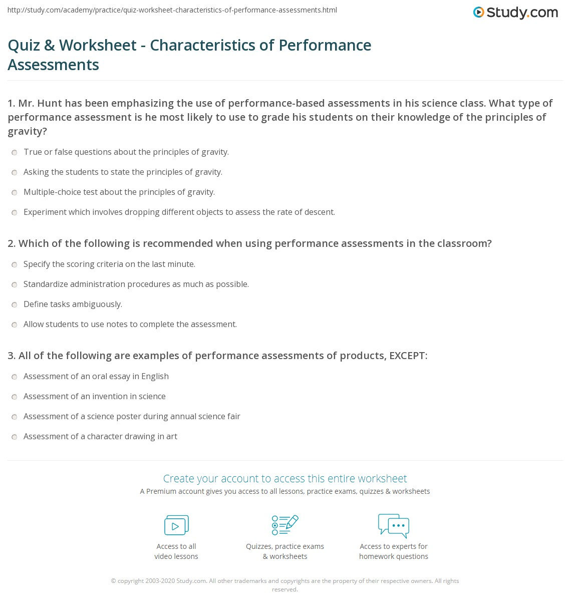 Performance Based Assessment Examples Science