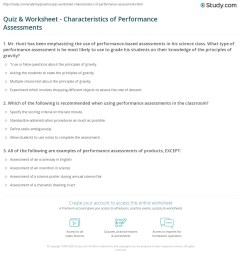 Quiz \u0026 Worksheet - Characteristics of Performance Assessments   Study.com [ 1216 x 1140 Pixel ]