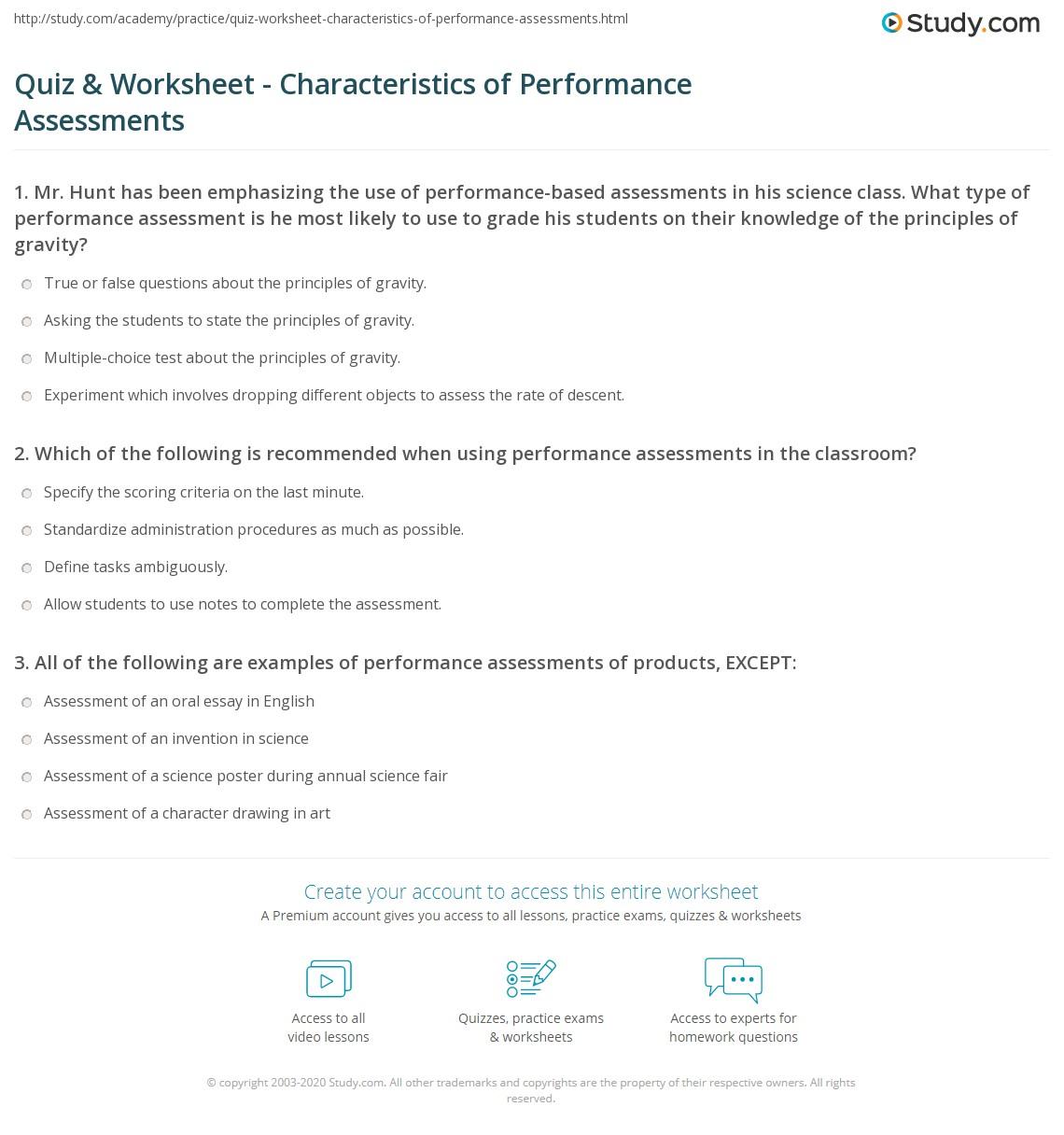 hight resolution of Quiz \u0026 Worksheet - Characteristics of Performance Assessments   Study.com