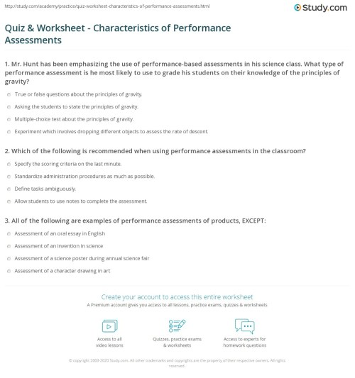 small resolution of Quiz \u0026 Worksheet - Characteristics of Performance Assessments   Study.com