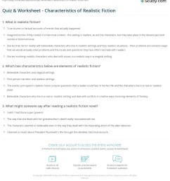 Quiz \u0026 Worksheet - Characteristics of Realistic Fiction   Study.com [ 1253 x 1140 Pixel ]