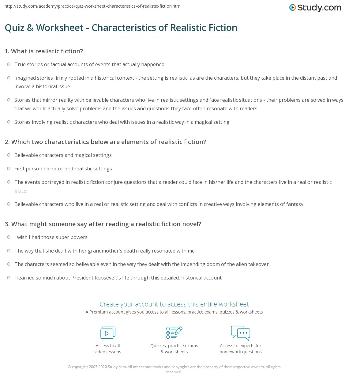 hight resolution of Quiz \u0026 Worksheet - Characteristics of Realistic Fiction   Study.com