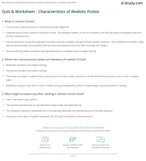 small resolution of Quiz \u0026 Worksheet - Characteristics of Realistic Fiction   Study.com