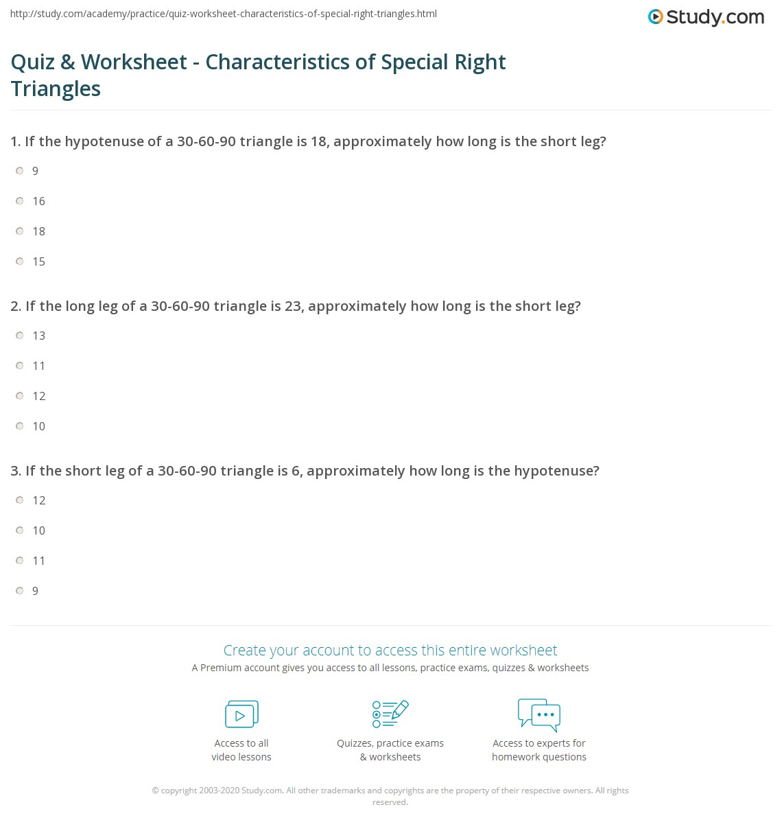 Special Right Triangles 30 60 90 Worksheet Answers