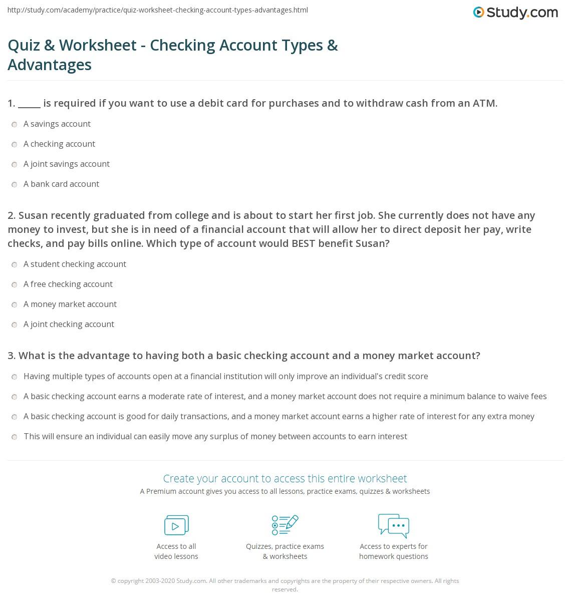 33 Bank Account Comparison Worksheet