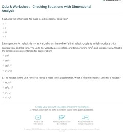Quiz \u0026 Worksheet - Checking Equations with Dimensional Analysis   Study.com [ 1276 x 1140 Pixel ]