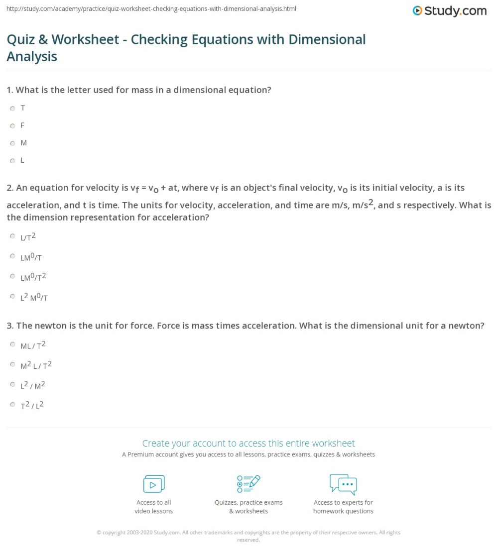 medium resolution of Quiz \u0026 Worksheet - Checking Equations with Dimensional Analysis   Study.com