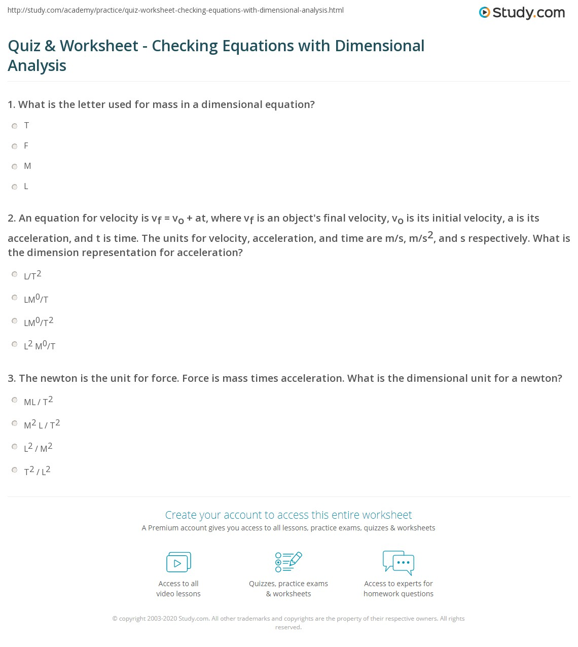 hight resolution of Quiz \u0026 Worksheet - Checking Equations with Dimensional Analysis   Study.com