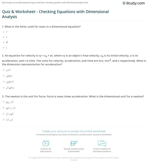 small resolution of Quiz \u0026 Worksheet - Checking Equations with Dimensional Analysis   Study.com