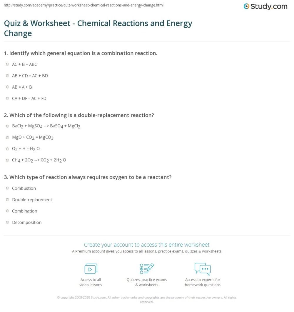 medium resolution of Quiz \u0026 Worksheet - Chemical Reactions and Energy Change   Study.com