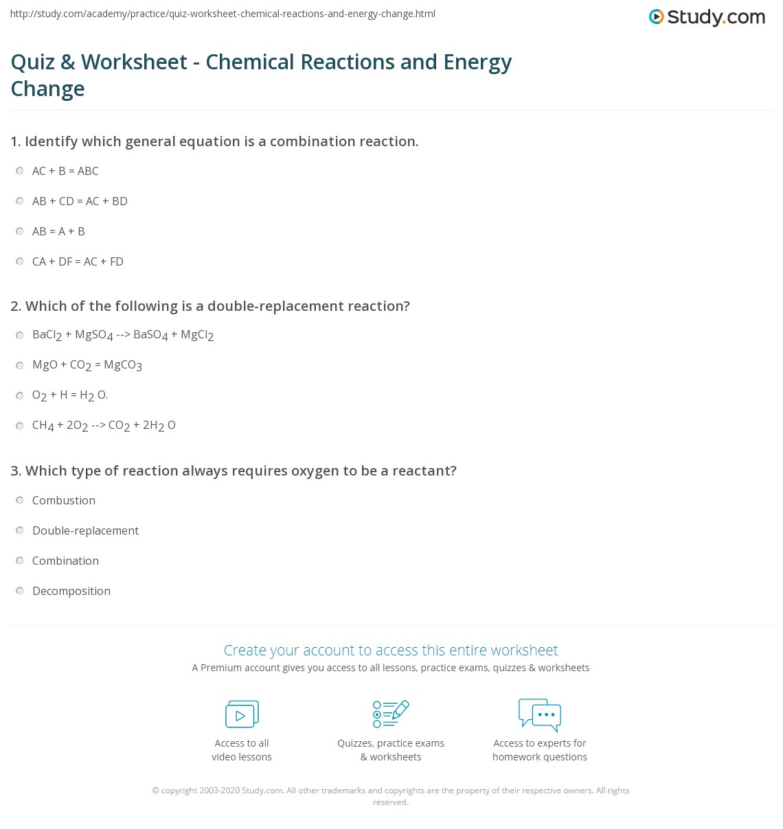 hight resolution of Quiz \u0026 Worksheet - Chemical Reactions and Energy Change   Study.com