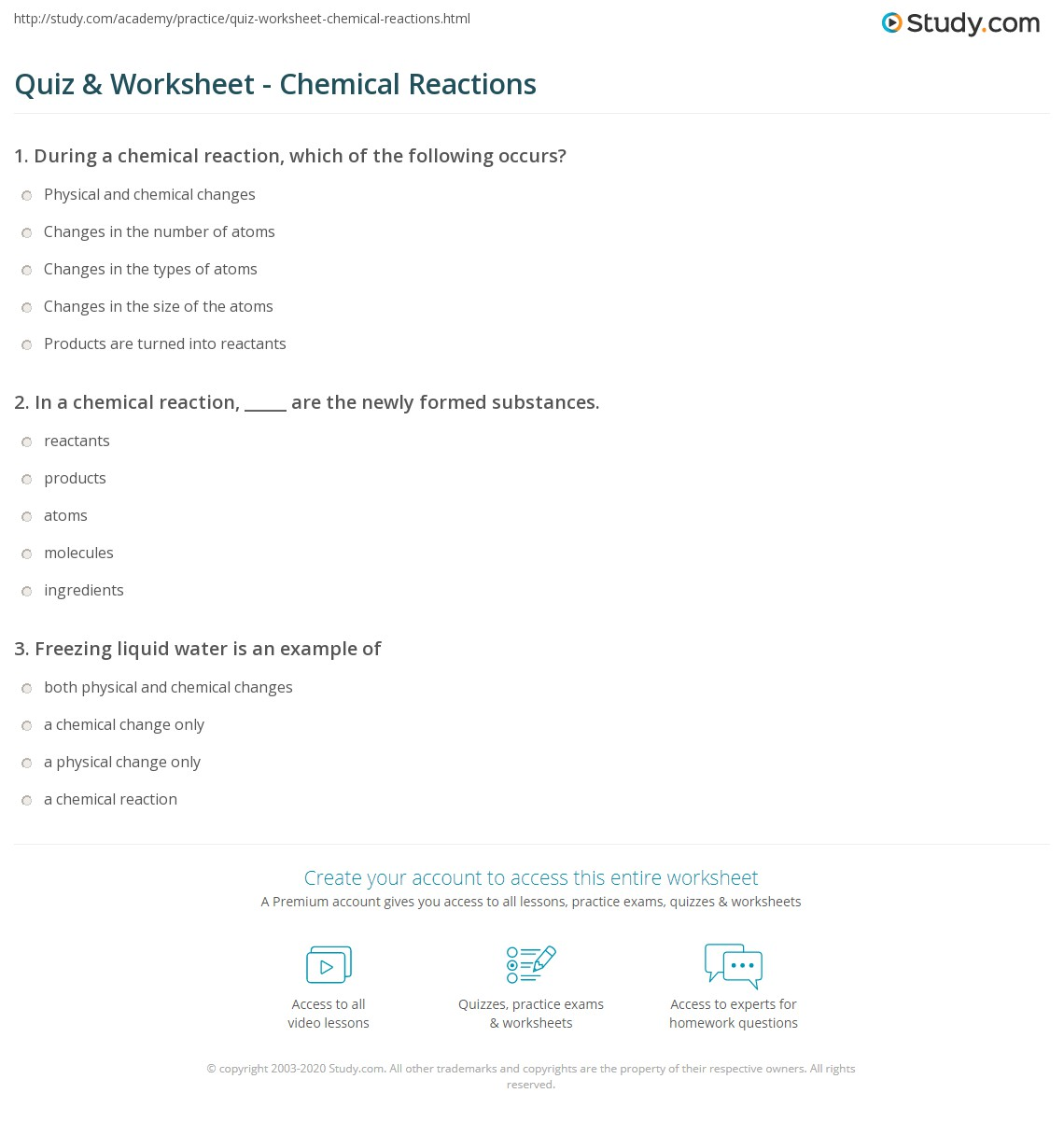 Types Of Chemical Equations Worksheet