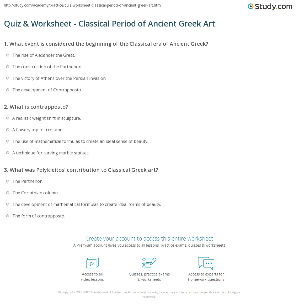 Art Greek Civilization Worksheet