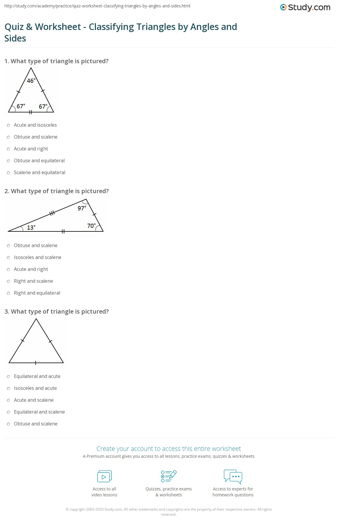Printables Of Classifying Triangles By Angles And Sides