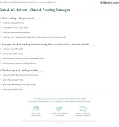 Quiz \u0026 Worksheet - Cloze \u0026 Reading Passages   Study.com [ 1169 x 1140 Pixel ]