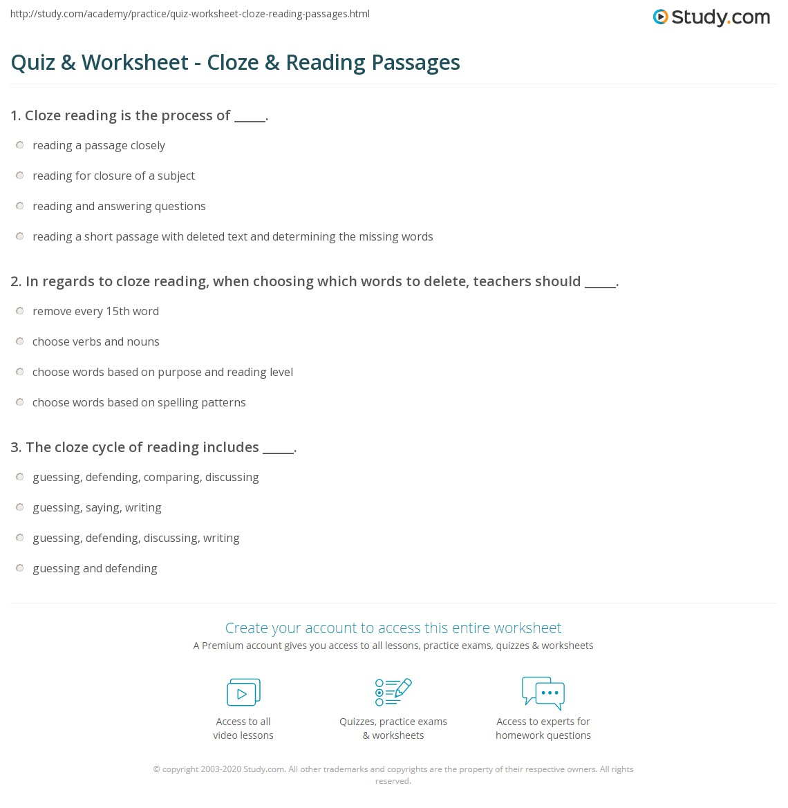 hight resolution of Quiz \u0026 Worksheet - Cloze \u0026 Reading Passages   Study.com