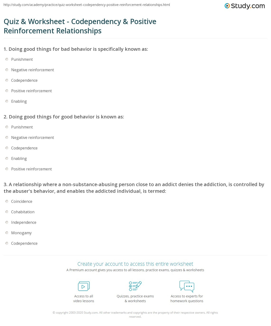 Relationships Worksheet