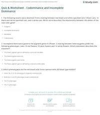 Quiz & Worksheet - Codominance and Incomplete Dominance ...
