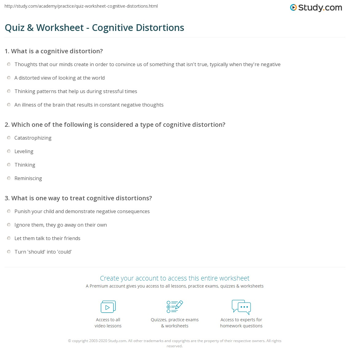 Worksheets Cognitive Distortions Self Help