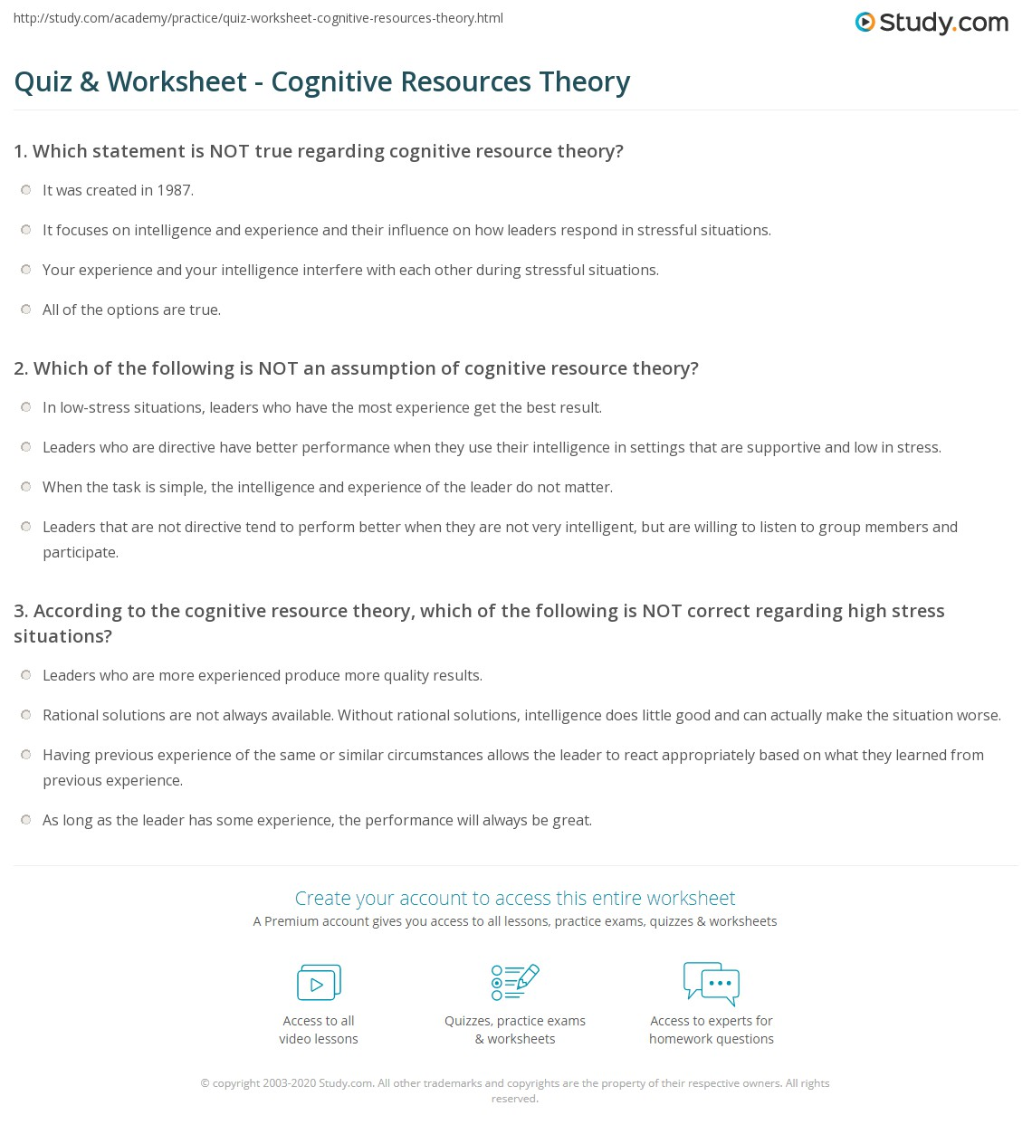 Cognitive Theory Definition