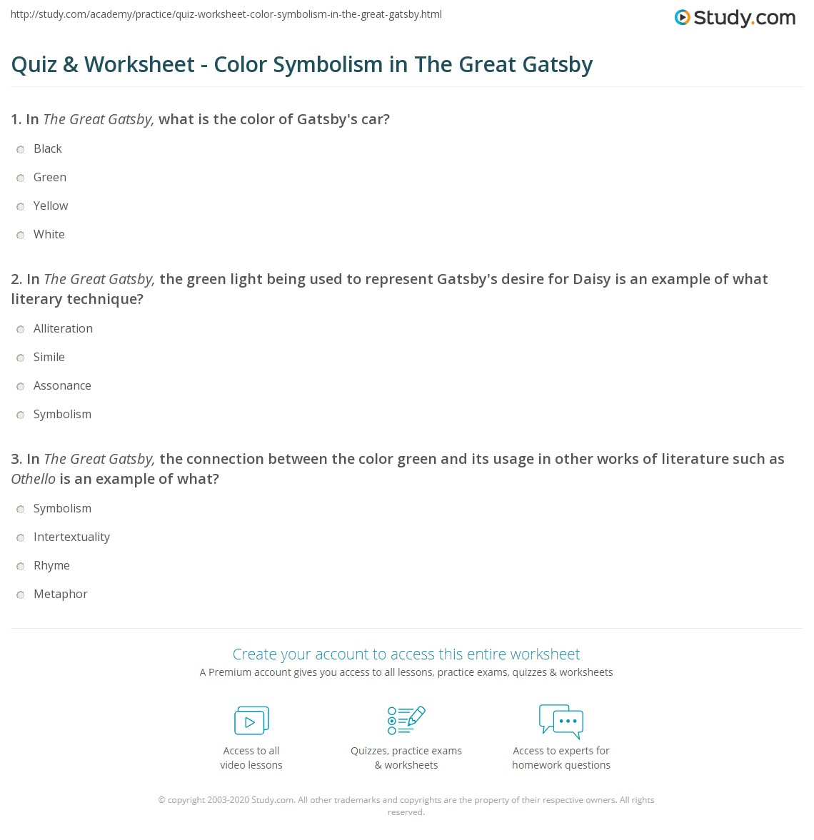 Quiz & Worksheet Color Symbolism In The Great Gatsby