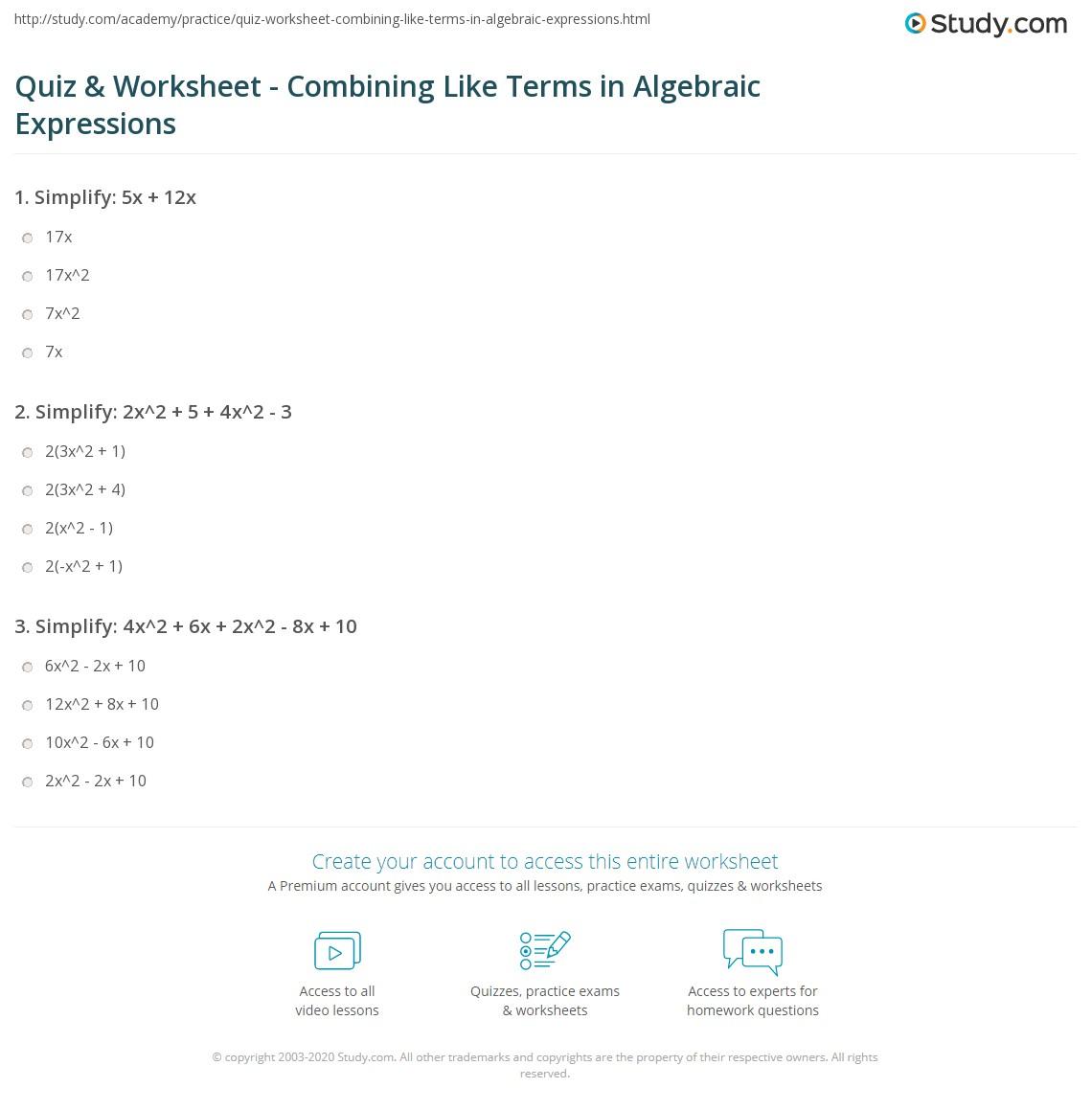 Bining Like Terms Worksheet Grade 8