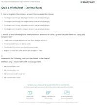 Quiz & Worksheet - Comma Rules | Study.com