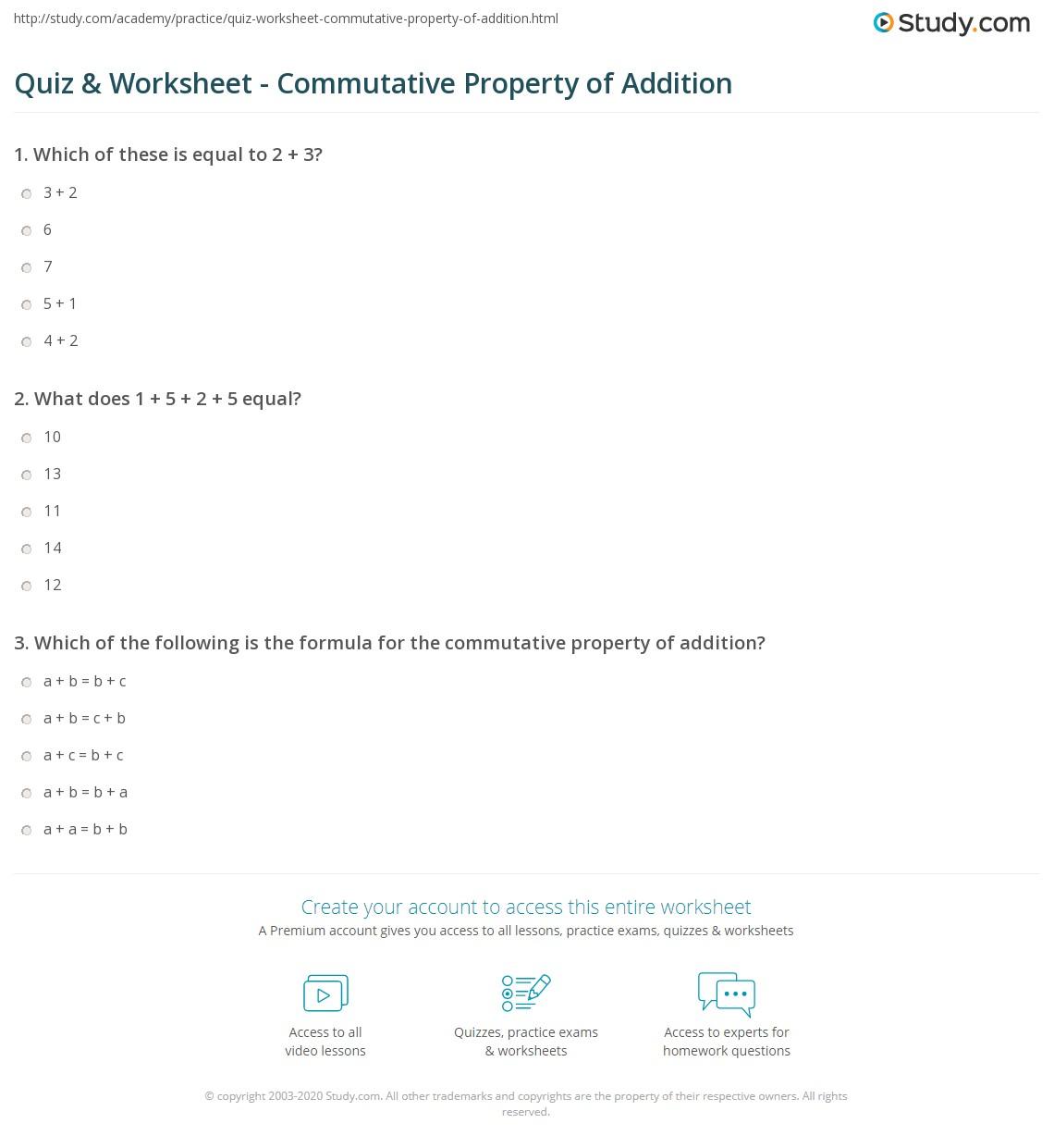 Commutative Property Of Addition Worksheets