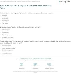 Quiz \u0026 Worksheet - Compare \u0026 Contrast Ideas Between Texts   Study.com [ 1188 x 1140 Pixel ]