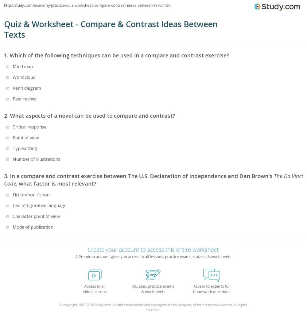 medium resolution of Quiz \u0026 Worksheet - Compare \u0026 Contrast Ideas Between Texts   Study.com